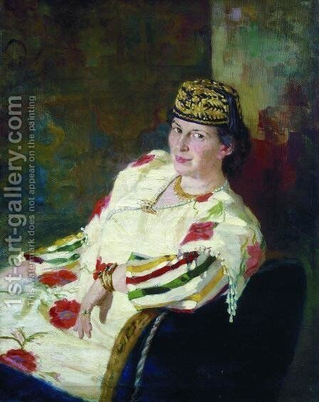 Portrait of patroness and countess Mara Konstantinovna Oliv by Ilya Efimovich Efimovich Repin - Reproduction Oil Painting