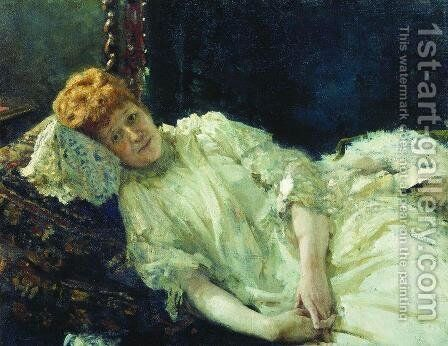 Portrait of pianist and comtesse Louise de Mercy-Argenteau by Ilya Efimovich Efimovich Repin - Reproduction Oil Painting