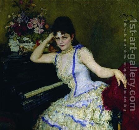 Portrait of pianist and professor of Saint-Petersburg Conservatory Sophie Menter by Ilya Efimovich Efimovich Repin - Reproduction Oil Painting