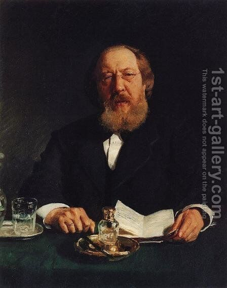 Portrait of poet and slavophile Ivan Sergeyevich Aksakov by Ilya Efimovich Efimovich Repin - Reproduction Oil Painting