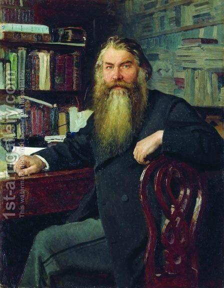 Portrait of the historian and archaeologist Ivan Egorovich Zabelin by Ilya Efimovich Efimovich Repin - Reproduction Oil Painting