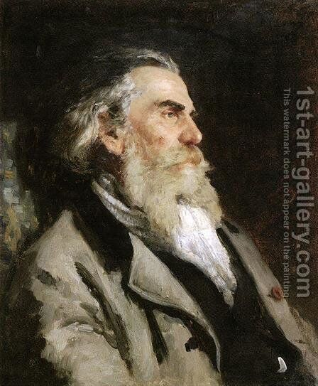 Portrait of the painter Alexey Petrovich Bogoliubov by Ilya Efimovich Efimovich Repin - Reproduction Oil Painting