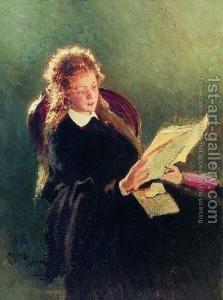 Reading girl by Ilya Efimovich Efimovich Repin - Reproduction Oil Painting