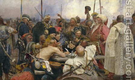Reply of the Zaporozhian Cossacks to Sultan Mehmed IV of Turkey by Ilya Efimovich Efimovich Repin - Reproduction Oil Painting