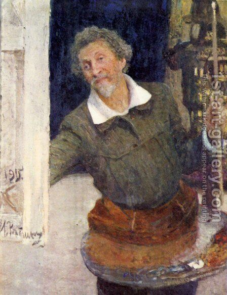 Self-portrait at work by Ilya Efimovich Efimovich Repin - Reproduction Oil Painting
