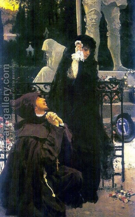 Stone Guest. Don Juan and Donna Anna. Oil on canvas by Ilya Efimovich Efimovich Repin - Reproduction Oil Painting