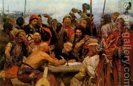 The Reply of the Zaporozhian Cossacks to Sultan of Turkey, sketch by Ilya Efimovich Efimovich Repin - Reproduction Oil Painting
