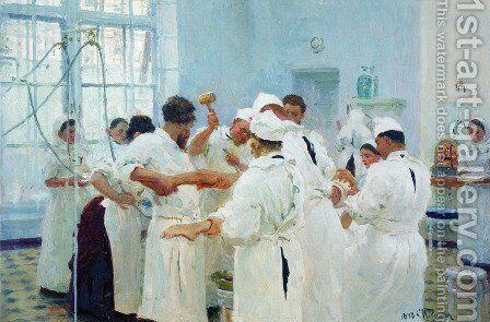 The Surgeon Evgueni Vasilievich Pavlov in the Operating Theater by Ilya Efimovich Efimovich Repin - Reproduction Oil Painting