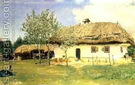 Ukrainian peasant house by Ilya Efimovich Efimovich Repin - Reproduction Oil Painting