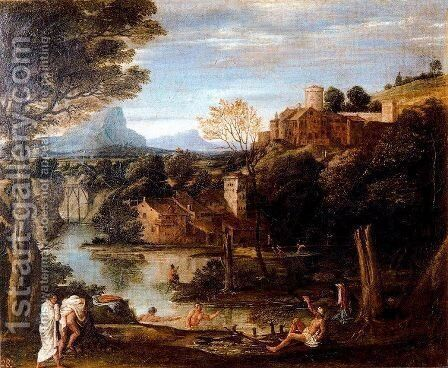 Landscape with bathers by Annibale Carracci - Reproduction Oil Painting