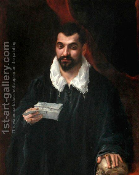 Portrait of a man holding a skull by Annibale Carracci - Reproduction Oil Painting