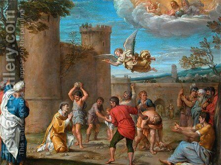 The Stoning of Saint Etienne by Annibale Carracci - Reproduction Oil Painting