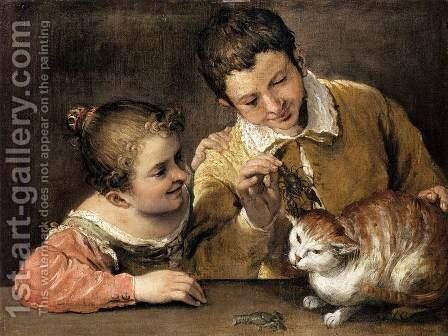 Two Children Teasing a Cat by Annibale Carracci - Reproduction Oil Painting