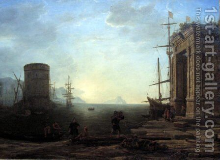 Harbour view at sunrise by Claude Lorrain (Gellee) - Reproduction Oil Painting