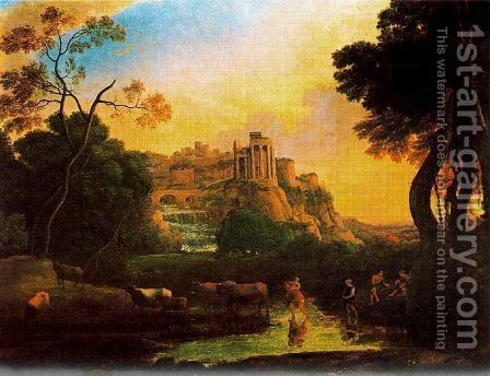 Imaginary view of Tivoli by Claude Lorrain (Gellee) - Reproduction Oil Painting
