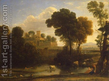 Italian landscape by Claude Lorrain (Gellee) - Reproduction Oil Painting