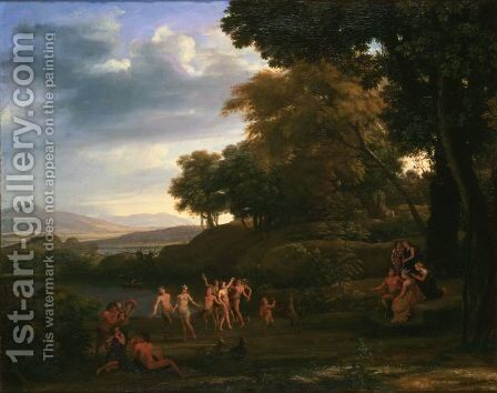 Landscape with Dancing Satyrs and Nymphs by Claude Lorrain (Gellee) - Reproduction Oil Painting
