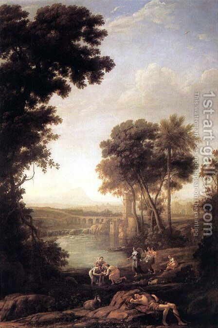 Landscape with Moses saved from the waters by Claude Lorrain (Gellee) - Reproduction Oil Painting