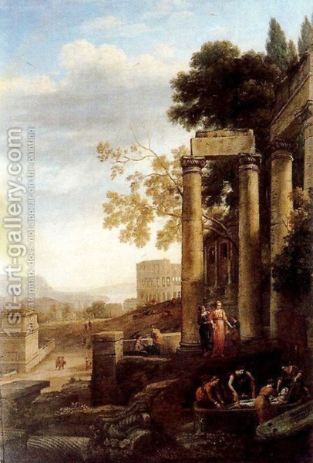 Landscape with the burial of St. Serapia by Claude Lorrain (Gellee) - Reproduction Oil Painting