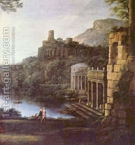 Landscape with the nymph Egeria and King Numa by Claude Lorrain (Gellee) - Reproduction Oil Painting