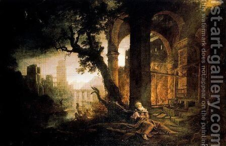 Landscape with the temptations of San Antonio Abad by Claude Lorrain (Gellee) - Reproduction Oil Painting