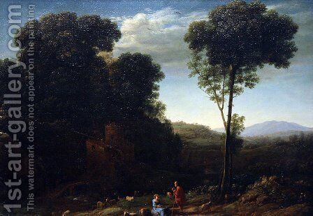 Pastoral Landscape with a Mill by Claude Lorrain (Gellee) - Reproduction Oil Painting