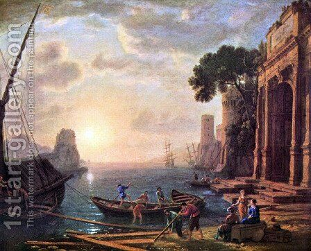Port at sunset by Claude Lorrain (Gellee) - Reproduction Oil Painting