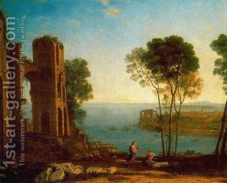 The Bay's Port with Apollo and the Cumaean sibyl by Claude Lorrain (Gellee) - Reproduction Oil Painting