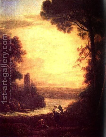 Tobias and the angel by Claude Lorrain (Gellee) - Reproduction Oil Painting