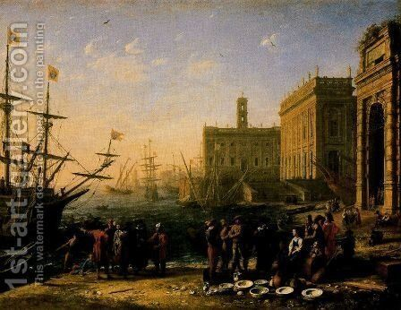 View of a Port with the Capitol by Claude Lorrain (Gellee) - Reproduction Oil Painting