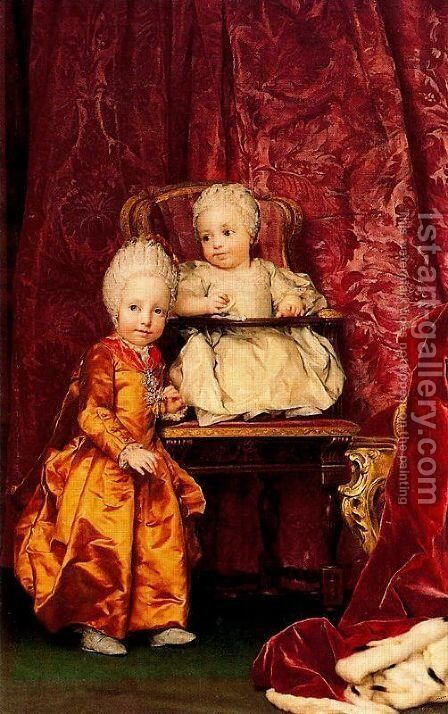 Archduke Ferdinand and Archduchess Maria Carolina of Austria, children of Empress Maria Theresia of Austri by Anton Raphael Mengs - Reproduction Oil Painting