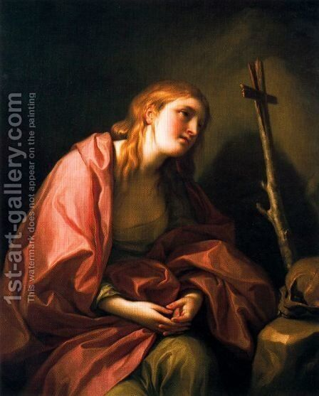 St Mary Magdalene penitent with a cross by Anton Raphael Mengs - Reproduction Oil Painting