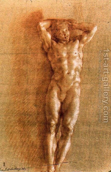 Study naked for a Telamon by Anton Raphael Mengs - Reproduction Oil Painting