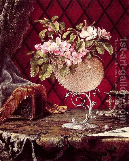 Still Life with Apple Blossoms in a Nautilus Shell by Martin Johnson Heade - Reproduction Oil Painting