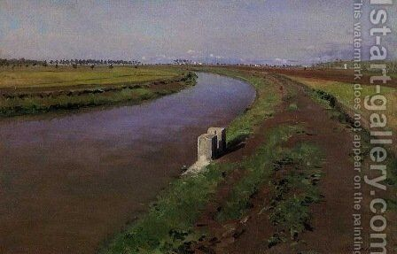 The Banks of a Canal, near Naples by Gustave Caillebotte - Reproduction Oil Painting