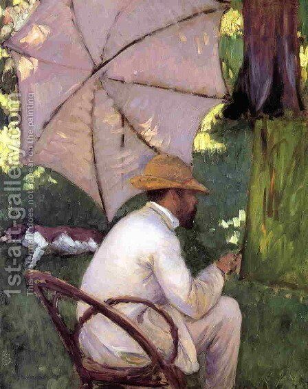 The Painter under His Parasol by Gustave Caillebotte - Reproduction Oil Painting