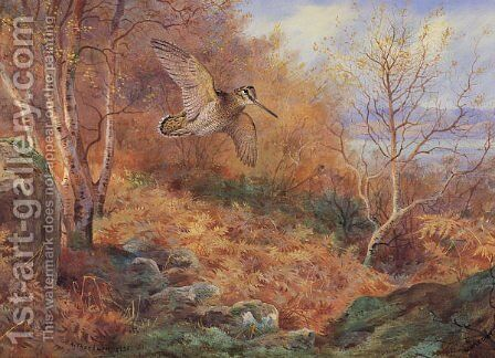 Autumn at Loch Maree by Archibald Thorburn - Reproduction Oil Painting