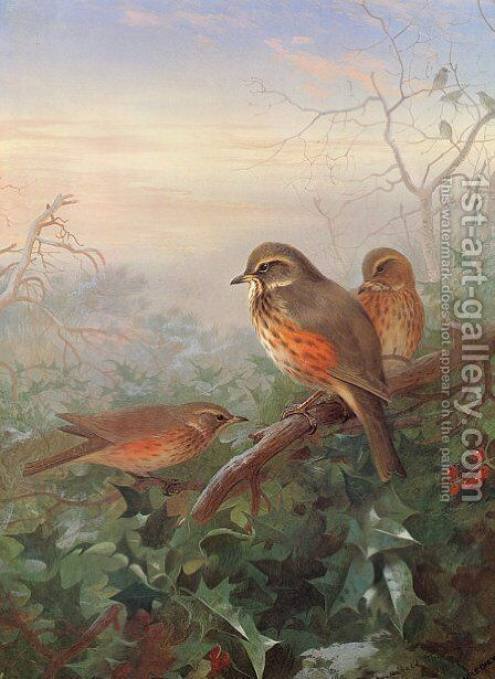 Out in the Cold by Archibald Thorburn - Reproduction Oil Painting
