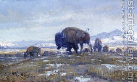 Buffalo Herd by Charles Marion Russell - Reproduction Oil Painting