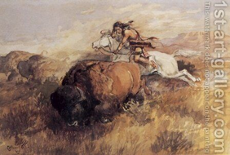 Indian On White Horse by Charles Marion Russell - Reproduction Oil Painting