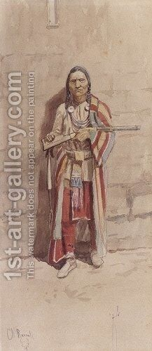 Indian With His Winchester by Charles Marion Russell - Reproduction Oil Painting