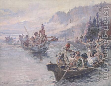 Lewis and Clark on the Lower Columbia by Charles Marion Russell - Reproduction Oil Painting