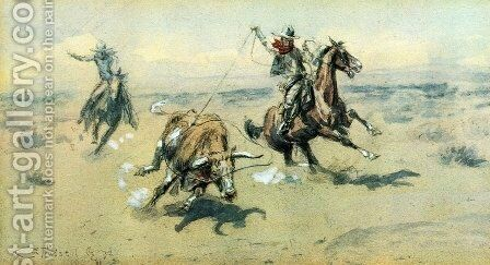 The Bolter No. 2 by Charles Marion Russell - Reproduction Oil Painting