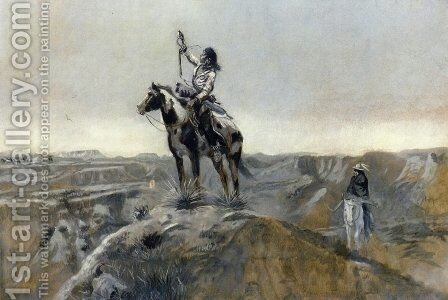 WAR (also known as Indian Telegraphing) by Charles Marion Russell - Reproduction Oil Painting