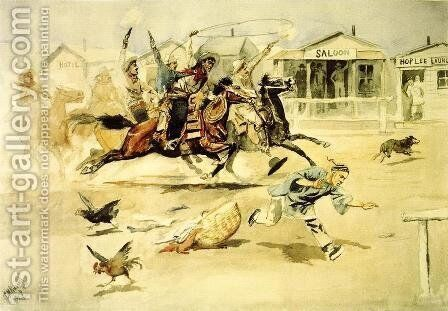 Whooping It Up (also known as A Quiet Day in Chinook) by Charles Marion Russell - Reproduction Oil Painting