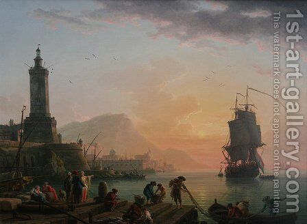 A Calm at a Mediterranean Port by Claude-joseph Vernet - Reproduction Oil Painting