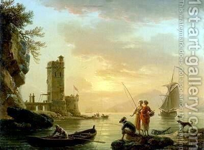 A Fishing Scene by Claude-joseph Vernet - Reproduction Oil Painting