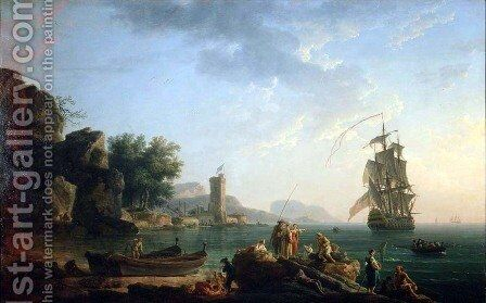 Coast scene with British man of war by Claude-joseph Vernet - Reproduction Oil Painting