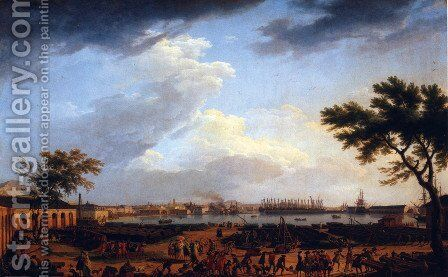 First view of the port of Toulon, for the Port-Neuf taken at the corner of Park artillery by Claude-joseph Vernet - Reproduction Oil Painting