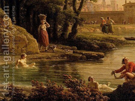 Landscape With Bathers (detail) by Claude-joseph Vernet - Reproduction Oil Painting